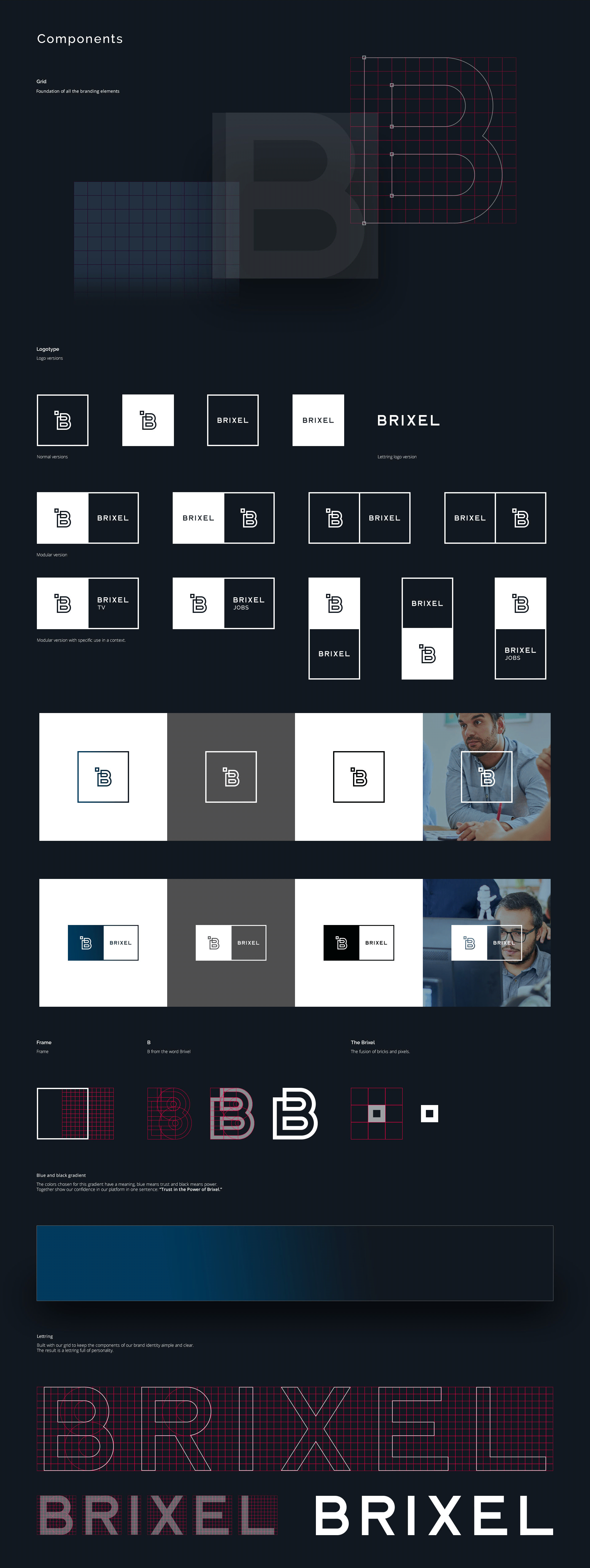 Showcase logo components, variations and applications.